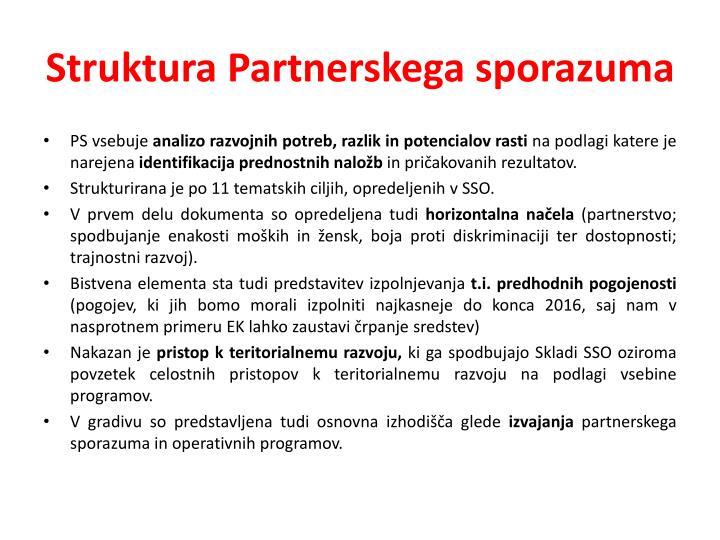 Struktura Partnerskega sporazuma