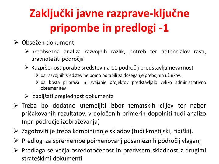 Zaključki javne razprave-ključne pripombe in predlogi -1