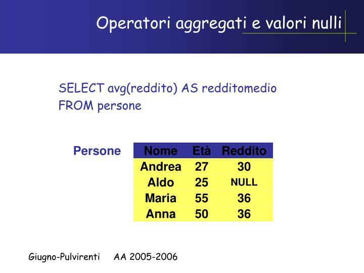Operatori aggregati e valori nulli