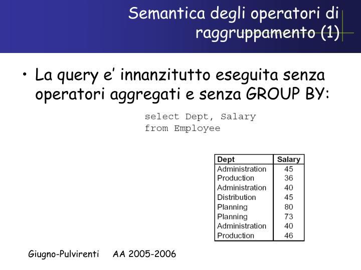 Semantica degli operatori di raggruppamento (1)