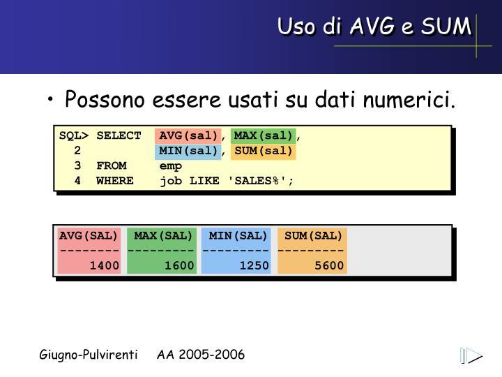 Uso di AVG e SUM