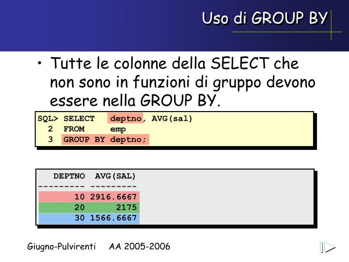 Uso di GROUP BY