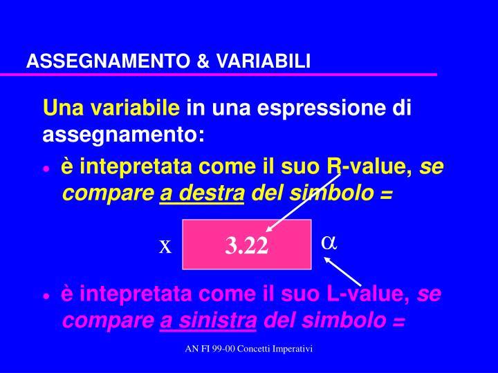 ASSEGNAMENTO & VARIABILI