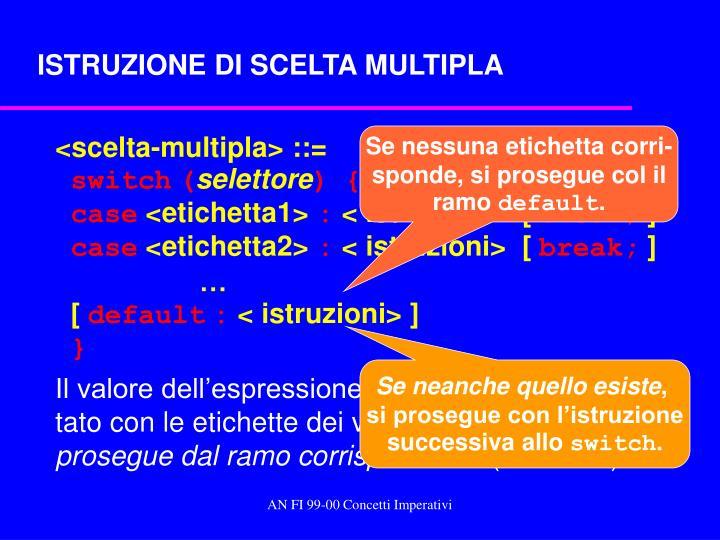ISTRUZIONE DI SCELTA MULTIPLA