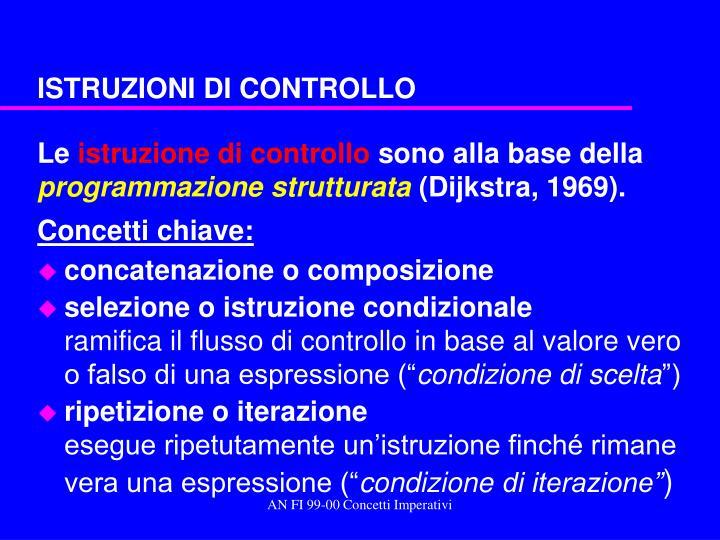ISTRUZIONI DI CONTROLLO