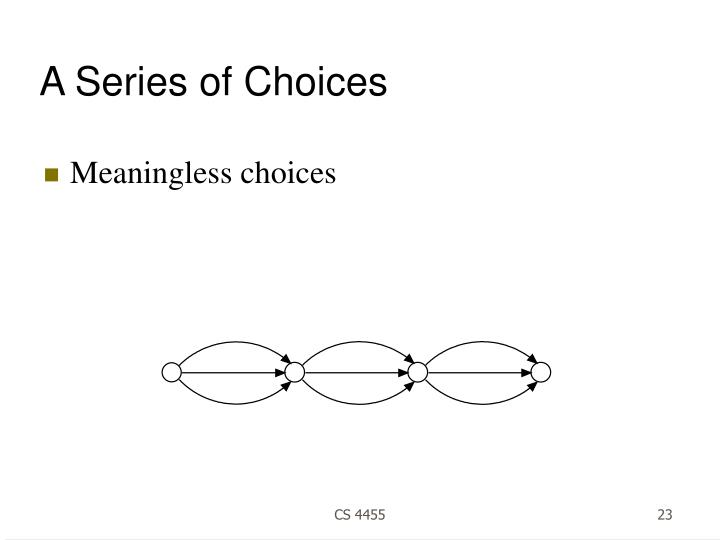 A Series of Choices