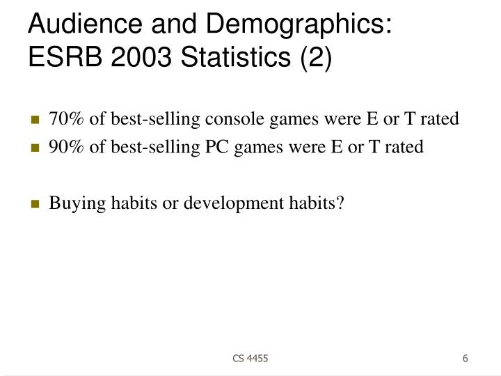 Audience and Demographics: ESRB 2003 Statistics (2)