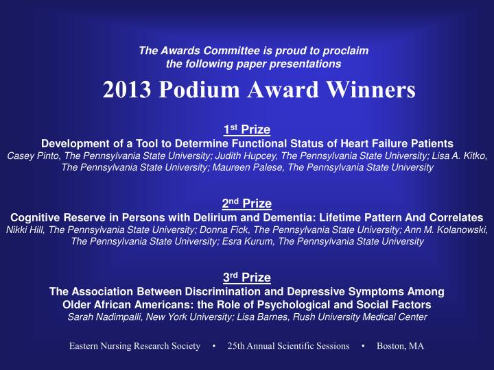 2013 Podium Award Winners