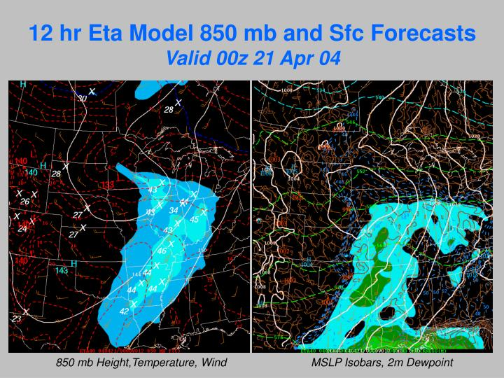 12 hr Eta Model 850 mb and Sfc Forecasts