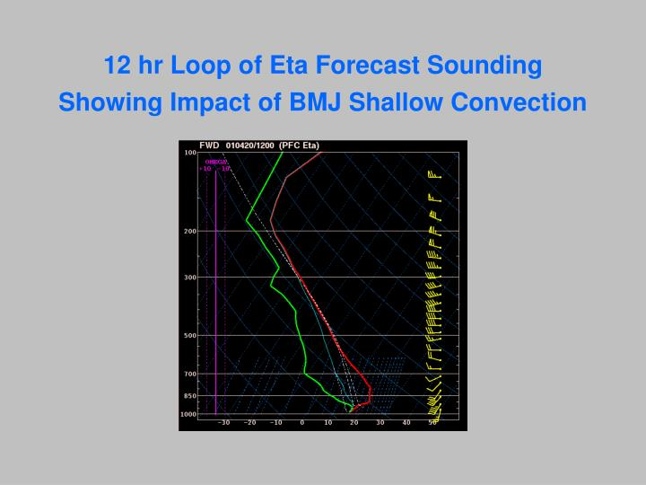 12 hr Loop of Eta Forecast Sounding Showing Impact of BMJ Shallow Convection