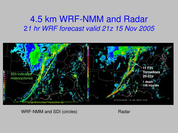 4.5 km WRF-NMM and Radar