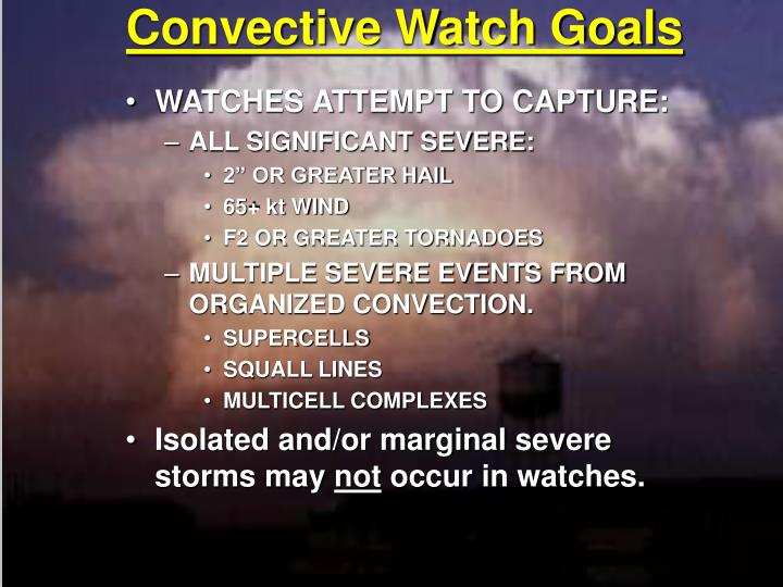 Convective Watch Goals