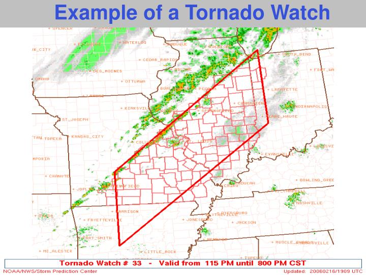 Example of a Tornado Watch