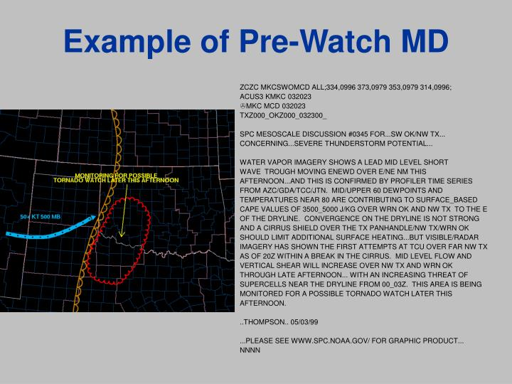 Example of Pre-Watch MD