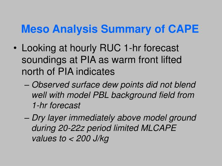Meso Analysis Summary of CAPE