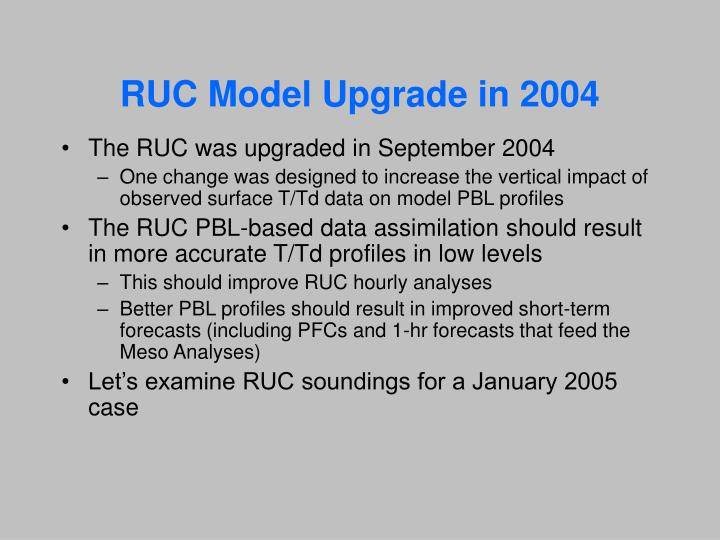 RUC Model Upgrade in 2004