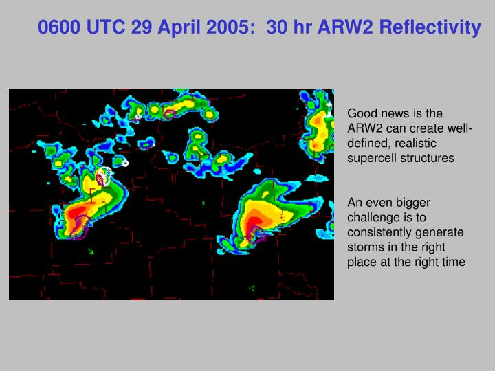 0600 UTC 29 April 2005:  30 hr ARW2 Reflectivity