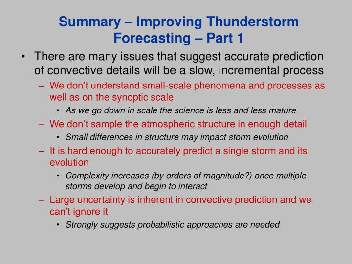 Summary – Improving Thunderstorm Forecasting – Part 1