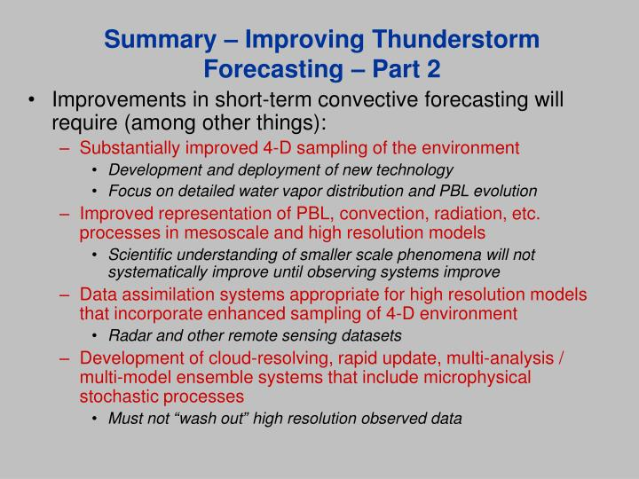 Summary – Improving Thunderstorm Forecasting – Part 2
