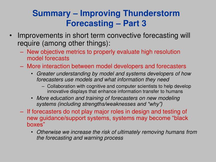 Summary – Improving Thunderstorm Forecasting – Part 3