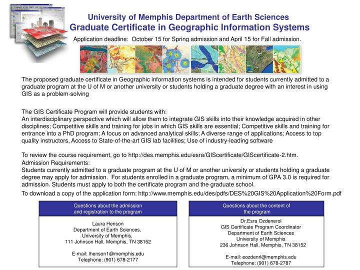 University of Memphis Department of Earth Sciences