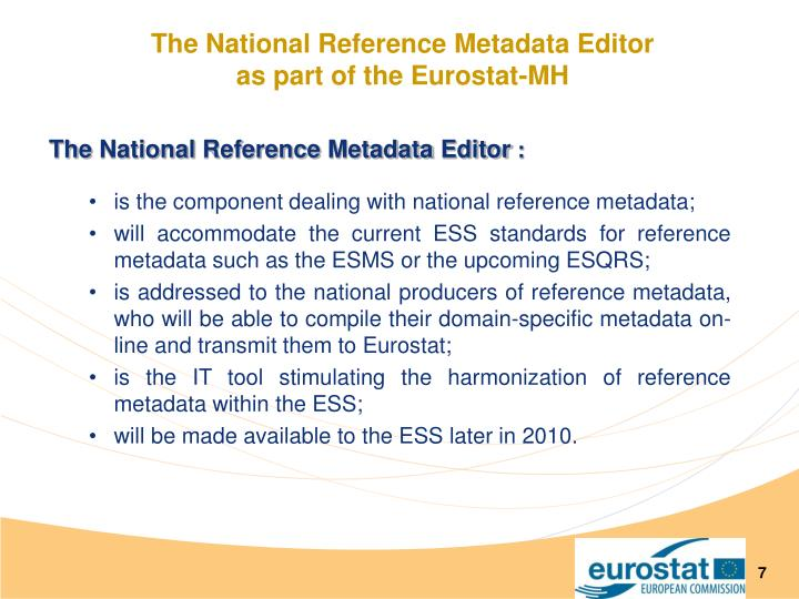 The National Reference Metadata Editor