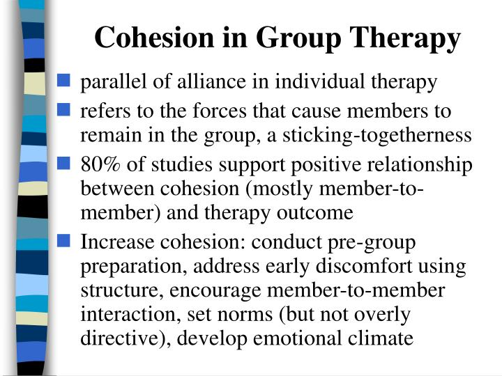 Cohesion in Group Therapy