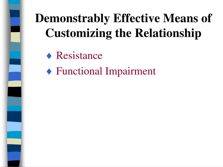 Demonstrably Effective Means of  Customizing the Relationship