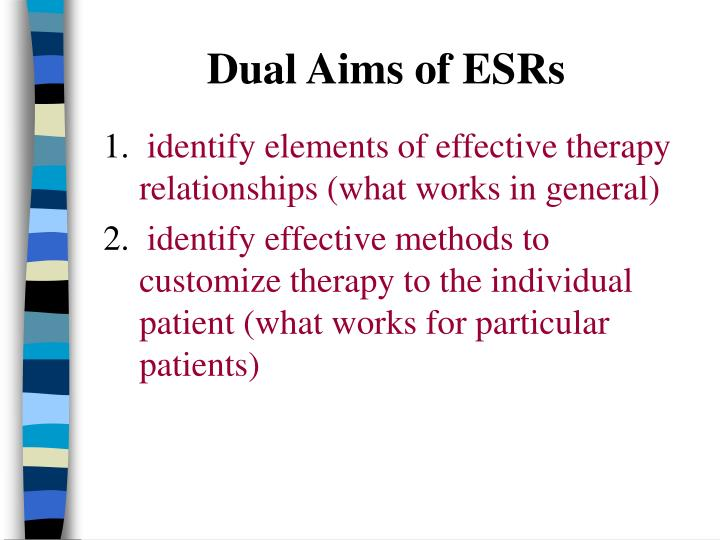 Dual Aims of ESRs