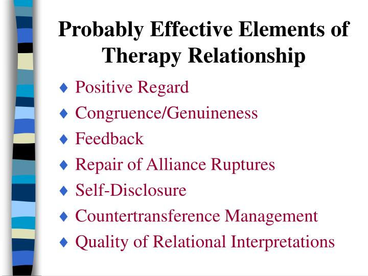 Probably Effective Elements of Therapy Relationship