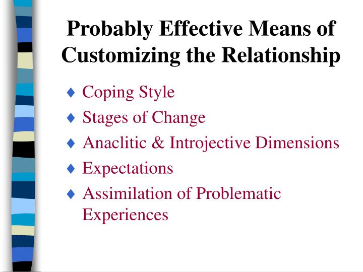 Probably Effective Means of Customizing the Relationship