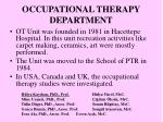 occupational therapy department
