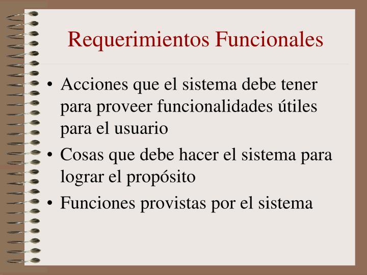 Requerimientos Funcionales