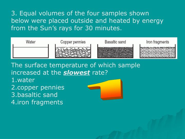 3. Equal volumes of the four samples shown below were placed outside and heated by energy from the Sun's rays for 30 minutes.