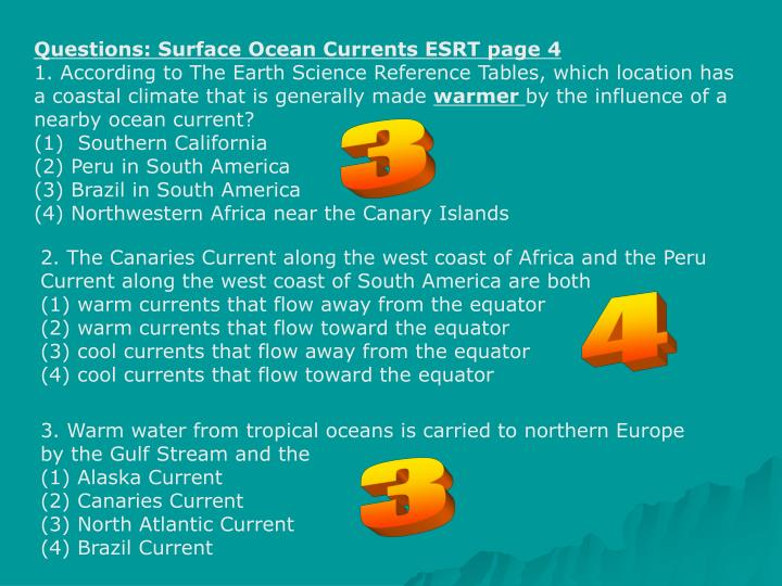 Questions: Surface Ocean Currents ESRT page 4