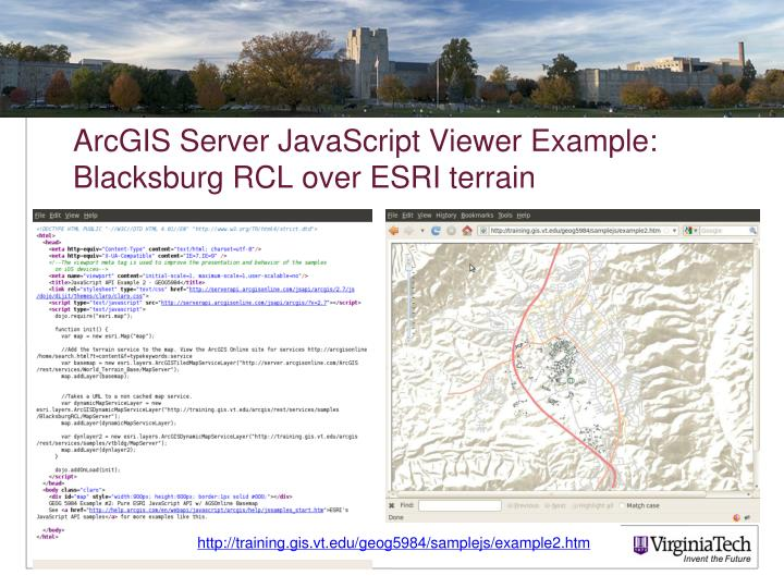 ArcGIS Server JavaScript Viewer Example: Blacksburg RCL over ESRI terrain