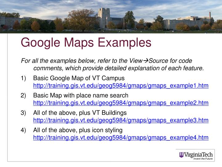 Google Maps Examples