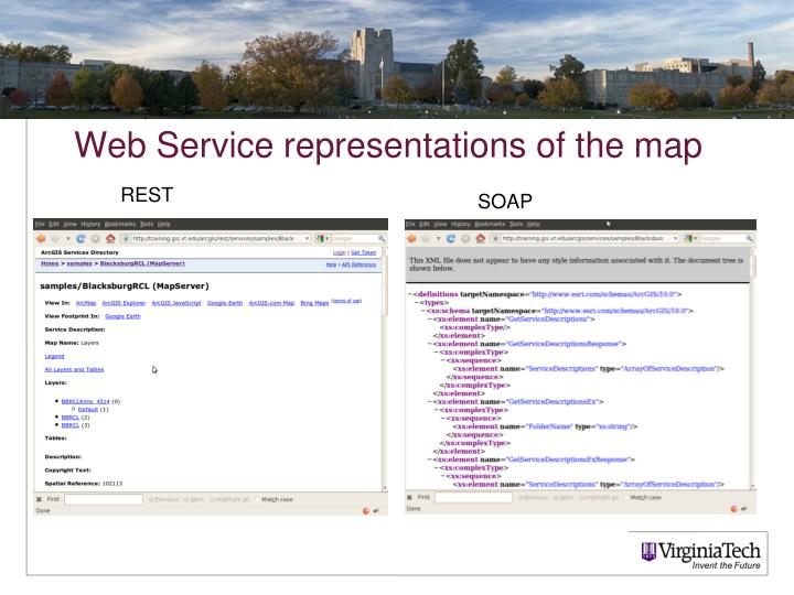 Web Service representations of the map
