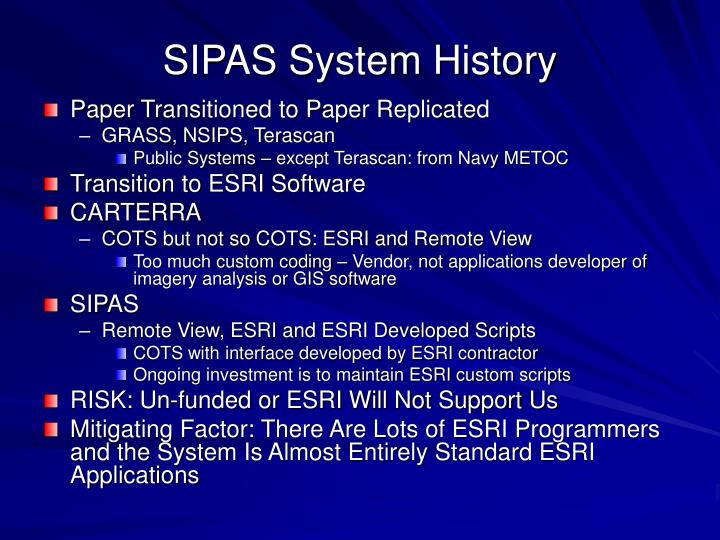 Sipas system history