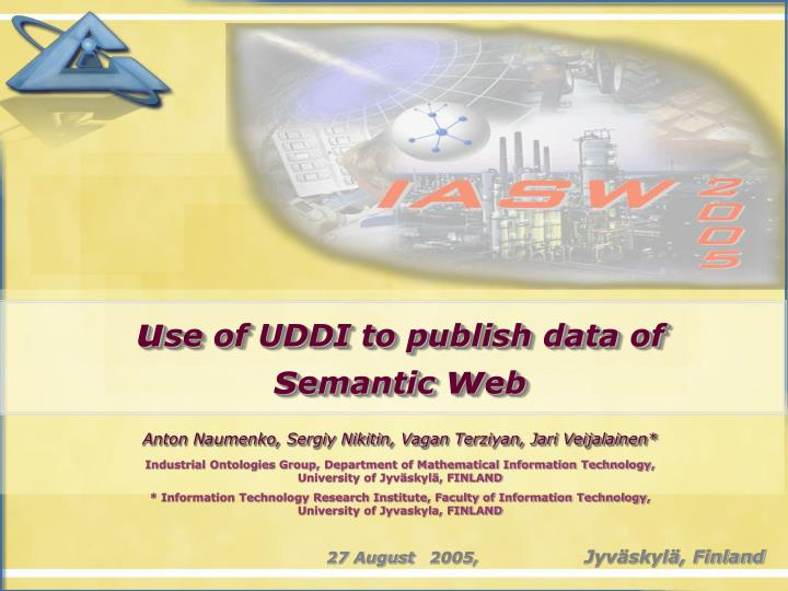 U se of uddi to publish data of s emantic w eb