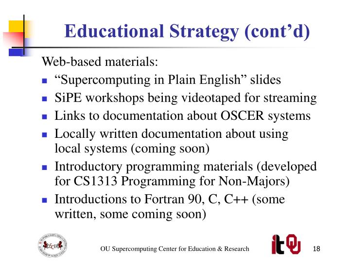 Educational Strategy (cont'd)