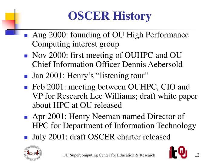OSCER History