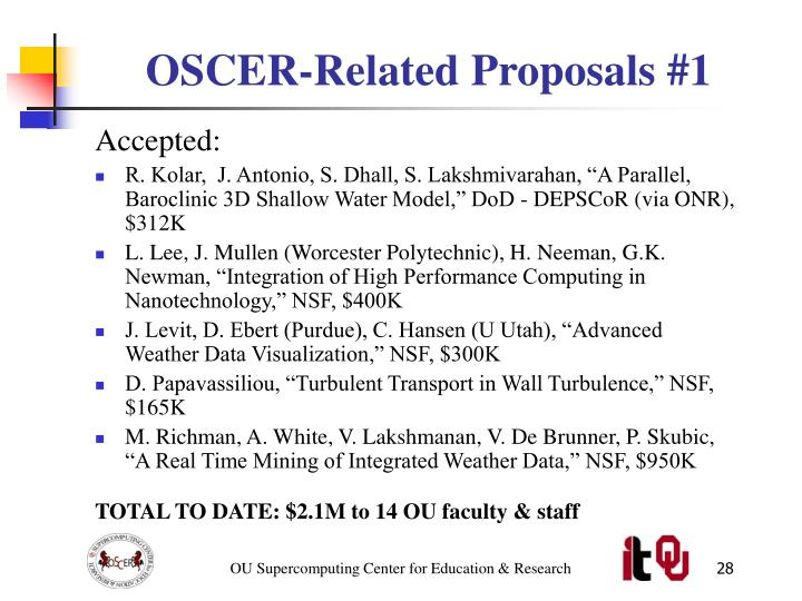 OSCER-Related Proposals #1