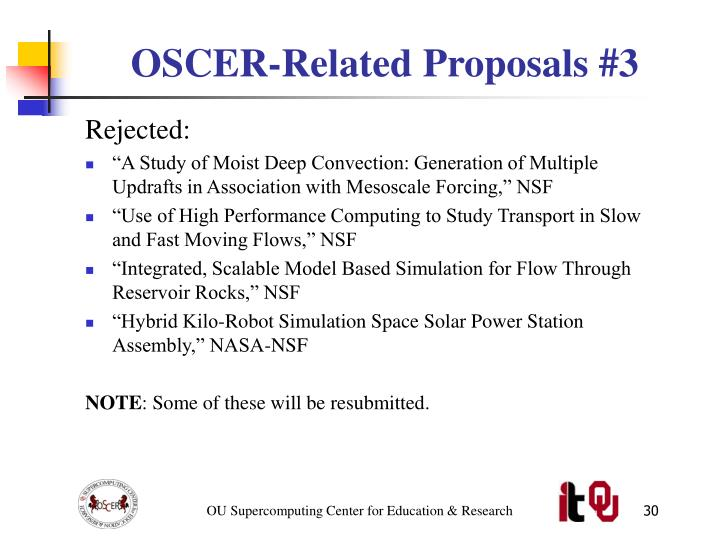 OSCER-Related Proposals #3