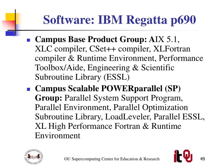 Software: IBM Regatta p690