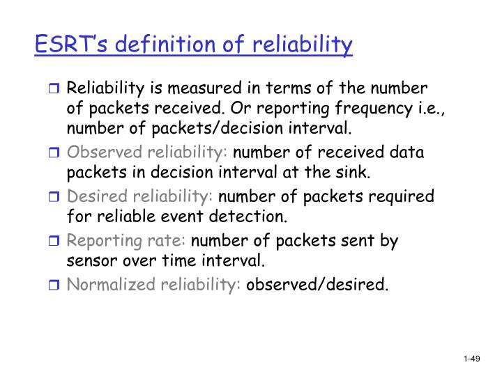 ESRT's definition of reliability