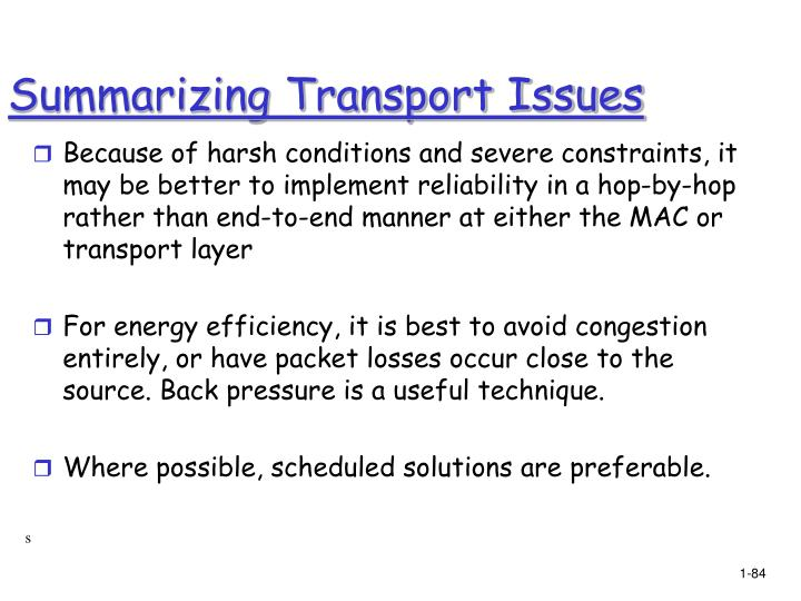 Summarizing Transport Issues