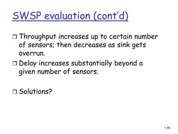 SWSP evaluation (cont'd)