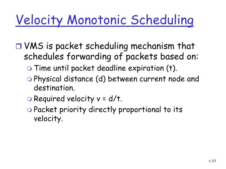 Velocity Monotonic Scheduling
