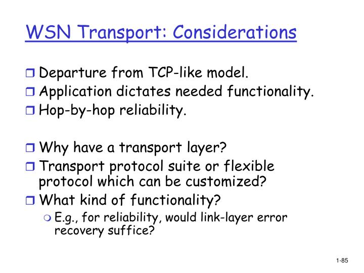 WSN Transport: Considerations